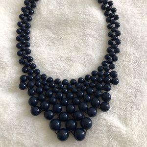 Talbots navy blue statement necklace